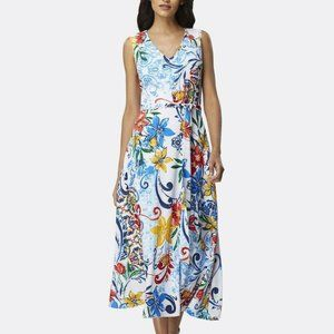 Tahari V-neck tea-length dress